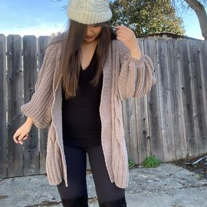 Oversized Taupe Cardigan from Expresss